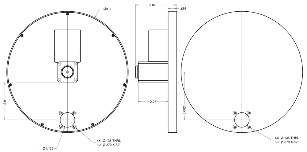 Dimensions of the Large Capacity Filter Wheel